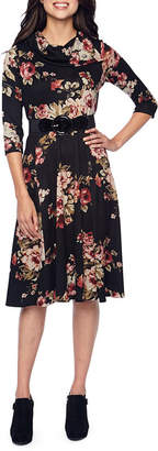 Robbie Bee 3/4 Sleeve Floral Fit & Flare Dress