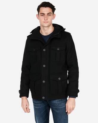 Express Wool-Blend Hooded Four-Pocket Coat