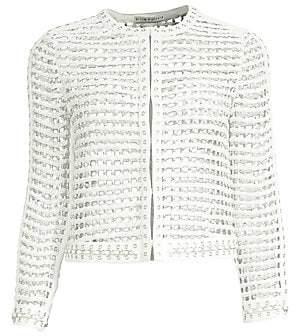 Alice + Olivia Women's Kidman Studded Leather Mesh Jacket