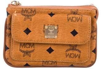 MCM Visetos Leather Zip Wallet
