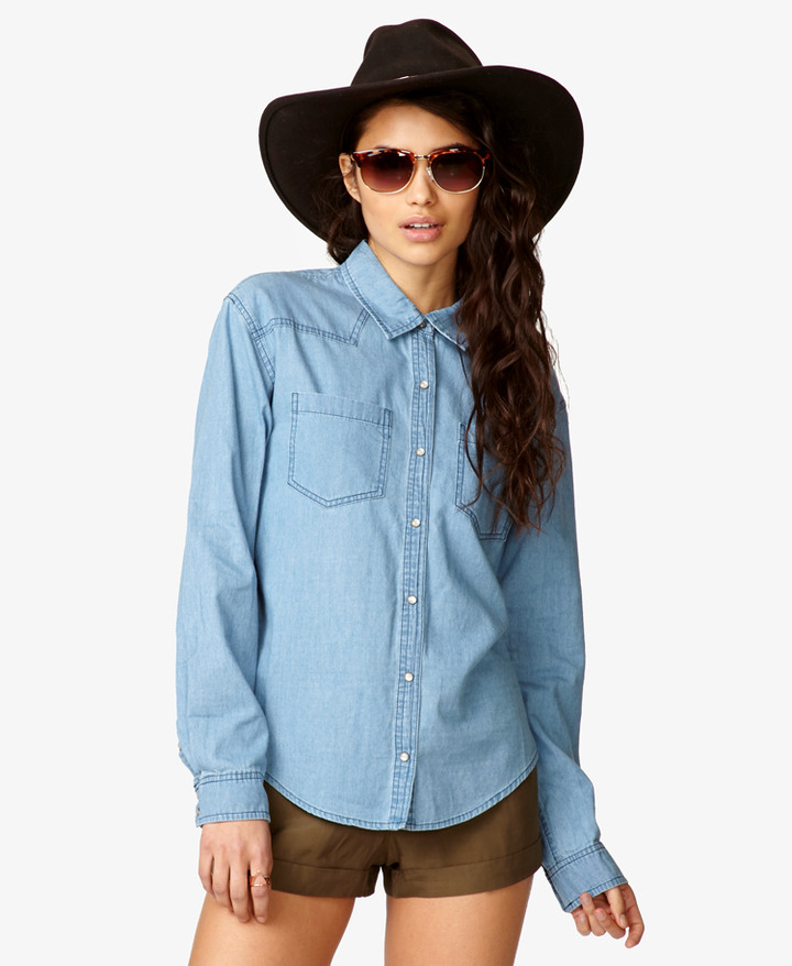 Forever 21 Western-Style Chambray Shirt