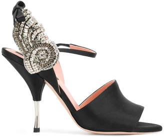 embellished silk sandals