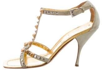 Prada Suede Studded T-Strap Sandals