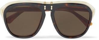 Gucci Square-Frame Acetate Flip-Lense Sunglasses $760 thestylecure.com