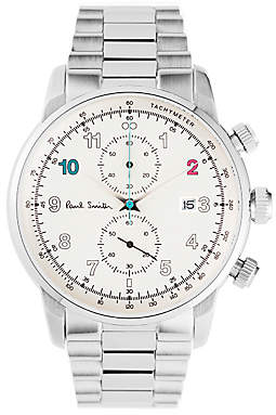 P10142 Men's Gauge Chronograph Date Bracelet Strap Watch, Silver/White
