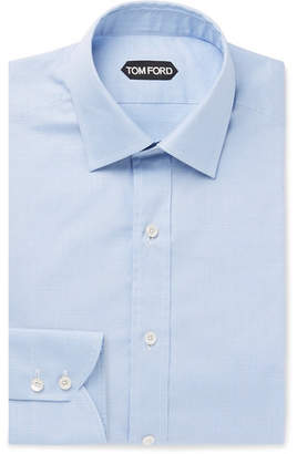 Tom Ford Light-Blue Slim-Fit Prince of Wales Checked Cotton Shirt - Men - Blue