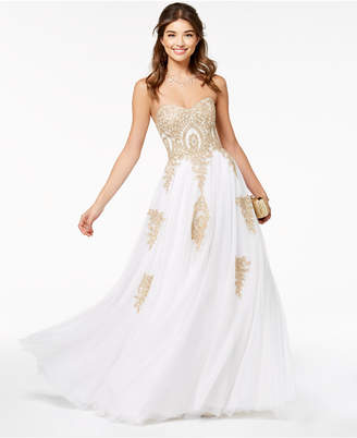 Say Yes to the Prom Juniors' Beaded Corset-Back Gown