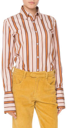 Isabel Marant Uliana Button-Front Long-Sleeve Striped Blouse