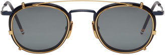Thom Browne Navy & Gold Clip-On Sunglasses $775 thestylecure.com