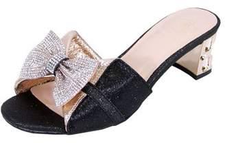 FLORAL Floral Women's Farrah Wide Width Rhinestone Bow Slip-On Pretty Ornate Block Heel Sandals