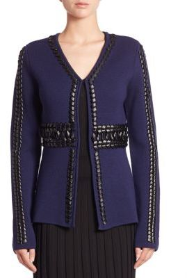 AltuzarraAltuzarra Copperhead Leather-Trim Wool Cardigan
