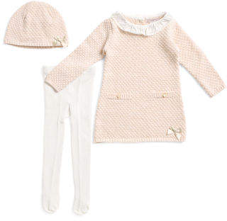 Infant Girls Textured Sweater Dress With Hat And Tights