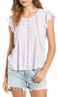 Women's Hinge Ruffle & Lace Top $65 thestylecure.com