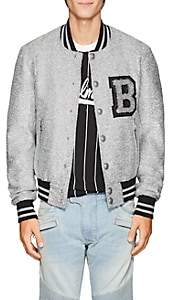 Balmain Men's Logo Metallic Wool-Blend Varsity Jacket - Silver