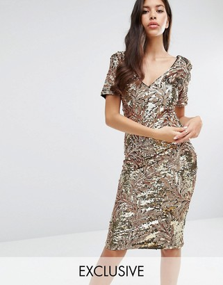 Club L Sequin Midi Dress with Cap Sleeve $98 thestylecure.com