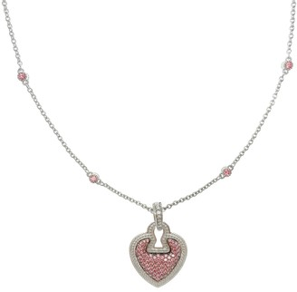 """Judith Ripka Sterling Diamonique Pave Heart 1 8"""" Necklace"""