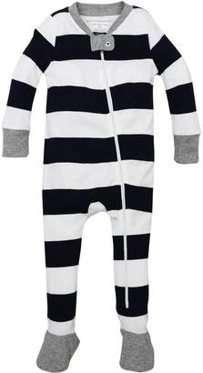 Burt's Bees Rugby Stripe Organic Baby Zip Up Footed Pajamas