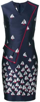 Talbot Runhof Sailboat jacquard dress