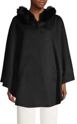 Sofia Cashmere Fox Fur-Trimmed Wool & Cashmere Cape