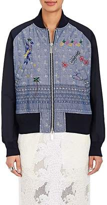 Sacai WOMEN'S FLORAL- & GEOMETRIC-PATTERN EMBROIDERED COTTON BOMBER JACKET