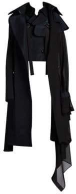 Sacai Women's Mixed Media Evening Coat - Navy Black - Size 1 (XS)