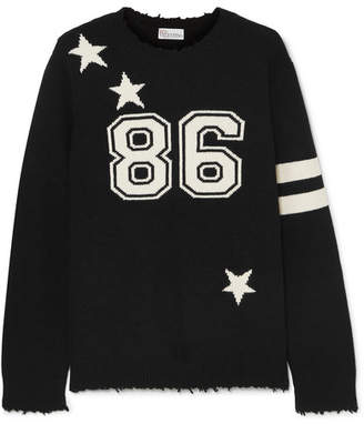 RED Valentino Distressed Intarsia Wool Sweater - Black