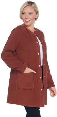 Denim & Co. Regular Sherpa Bonded with Fleece Snap Front Coat