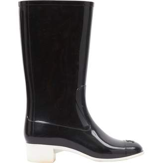 Chanel Black Plastic Boots