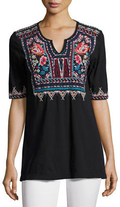 JWLA For Johnny Was Mina Boho Embroidered Easy Top $135 thestylecure.com