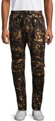 Metallic Dropped Crotch Denim Joggers