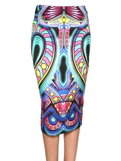 Manish Arora - Printed Viscose Satin Pencil Skirt
