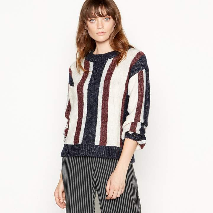 Blue 'Gracie' Metallic Striped Long Sleeves Jumper