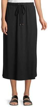 Eileen Fisher Viscose Jersey Drawstring Midi Skirt