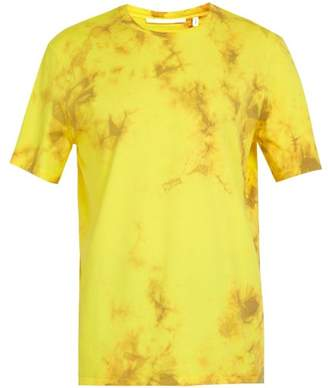 Helmut Lang Logo Print Tie Dye Cotton T Shirt - Mens - Yellow