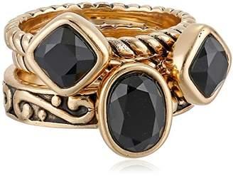 """Barse Glisten"""" Bronze Onyx Stack Ring"""