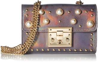 Steve Madden Prince Push Lock Mini Flapover Crossbody with Pearls, Ladies PU Satchel