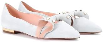 Roger Vivier Baby Doll Pearl suede ballerinas