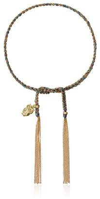 Carolina Bucci purple and blue intuition charm yellow gold lucky bracelet