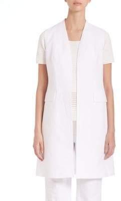 Lafayette 148 New York Courtly Cotton-Blend Long Leticia Vest