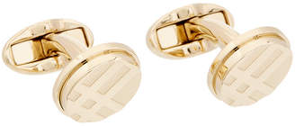 Burberry Check- Engraved Round Cufflinks