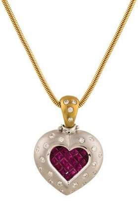 14K Ruby & Diamond Pendant Necklace