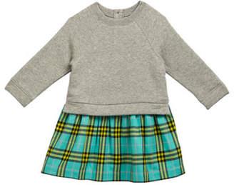 Burberry Francinie Sweatshirt & Plaid Skirt Dress, Size 6M-3