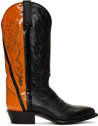 Helmut Lang Black and Orange Sarah Morris Edition Cowboy Boots