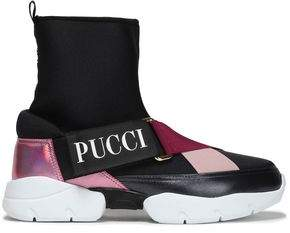 Emilio Pucci City Neoprene, Iridescent And Matte Leather Slip-on Sneakers