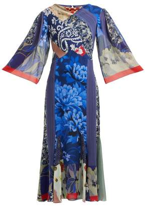 Etro Patchwork Print Silk Chiffon Dress - Womens - Blue Multi