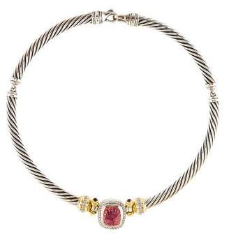 David Yurman Two-Tone Carved Tourmaline & Diamond Choker Necklace