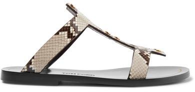 TOM FORD - Embellished Python Sandals - Brown