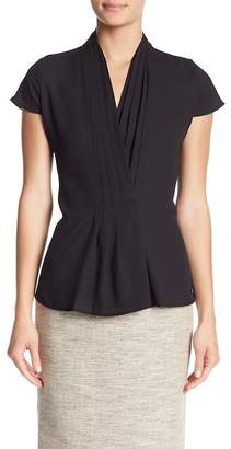 Modern American Designer Solid Pleated Surplice Neck Blouse