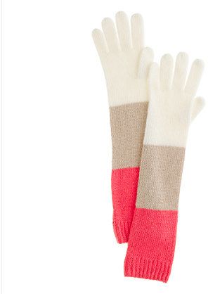J.Crew Wool-angora colorblock gloves