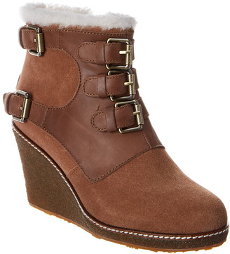 Australia Luxe Collective Monk Crepe Suede & Leather Wedge Bootie